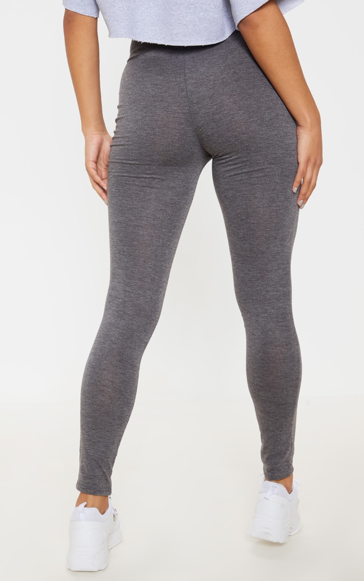 Basic Charcoal Grey High Waisted Jersey Leggings 4