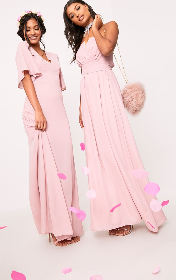 Lucilla Dusty Pink Lace Up Detail Maxi Dress 6