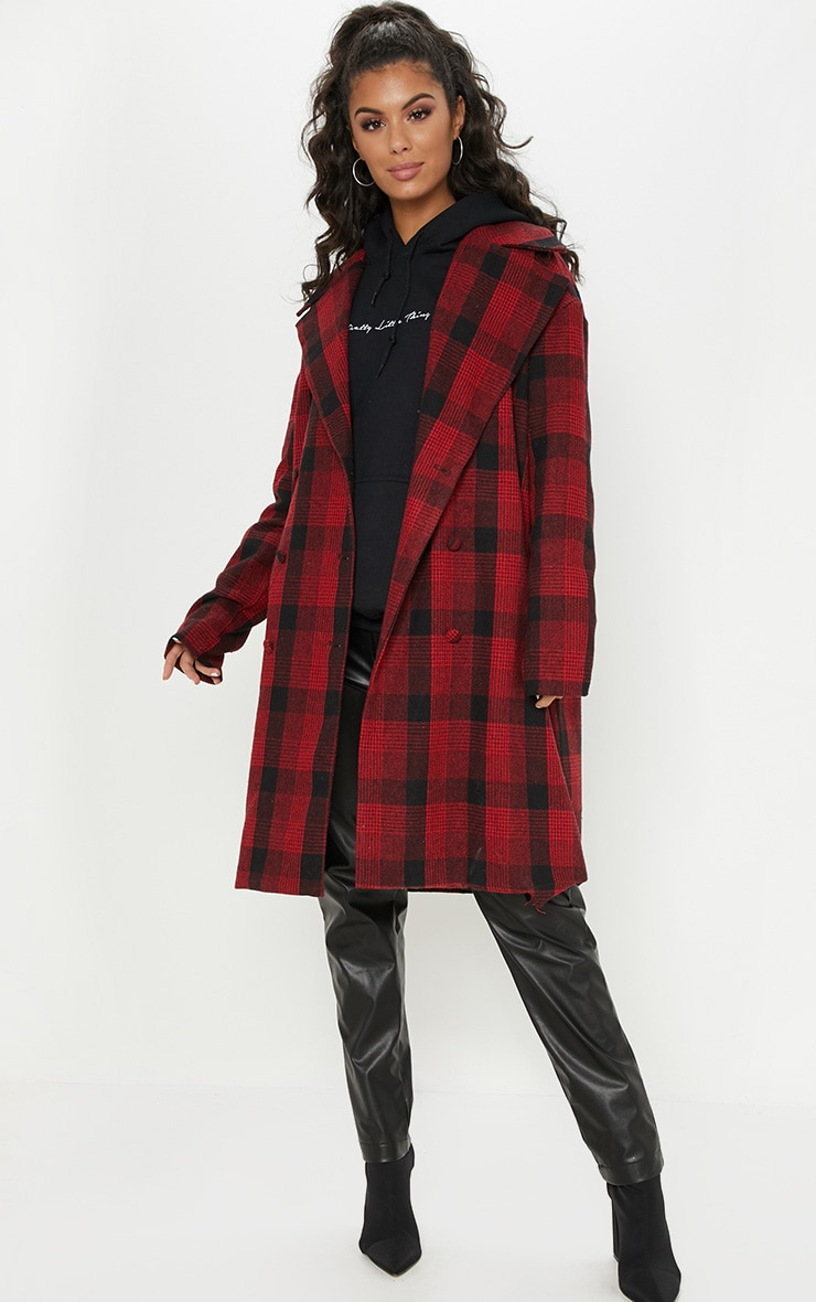 Red Checked Oversized Coat 1