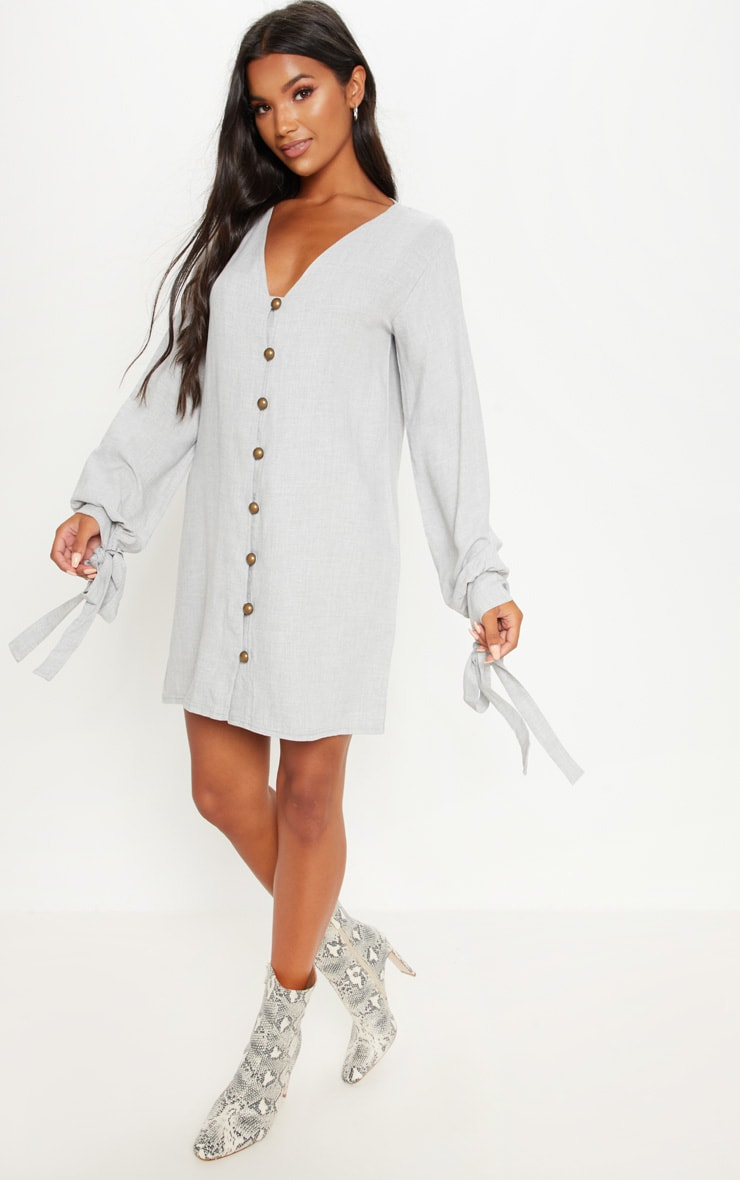 Pale Grey Balloon Sleeve Shirt Dress