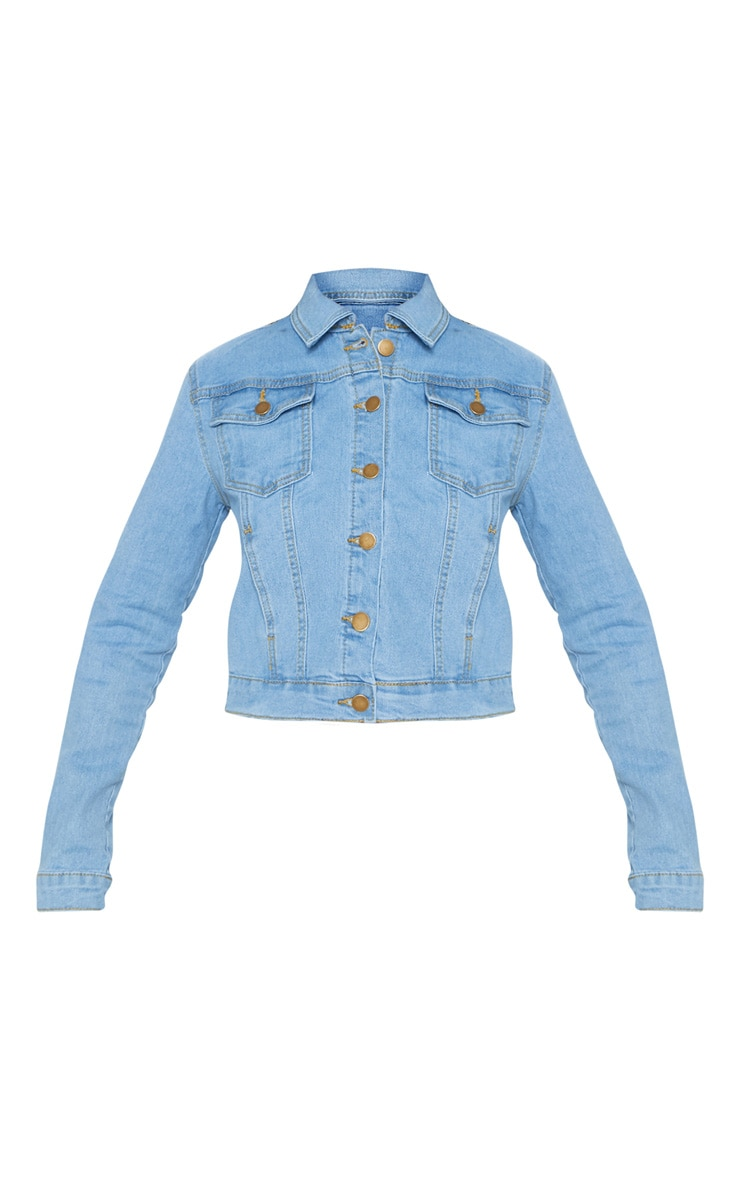 Light Wash Cropped Denim Jacket 3