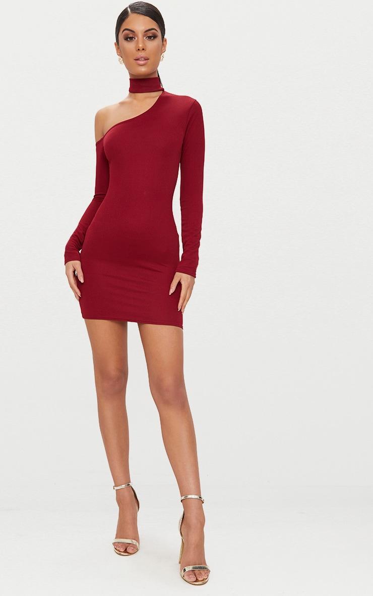 Burgundy Choker Detail One Shoulder Bodycon Dress 4