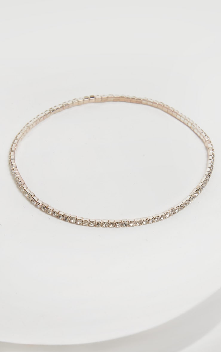 Silver Diamante Simple Anklet 3