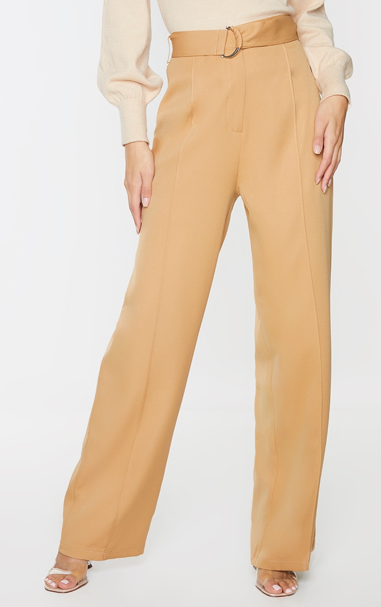 Camel D Ring Woven Belted Straight Leg Pants 2