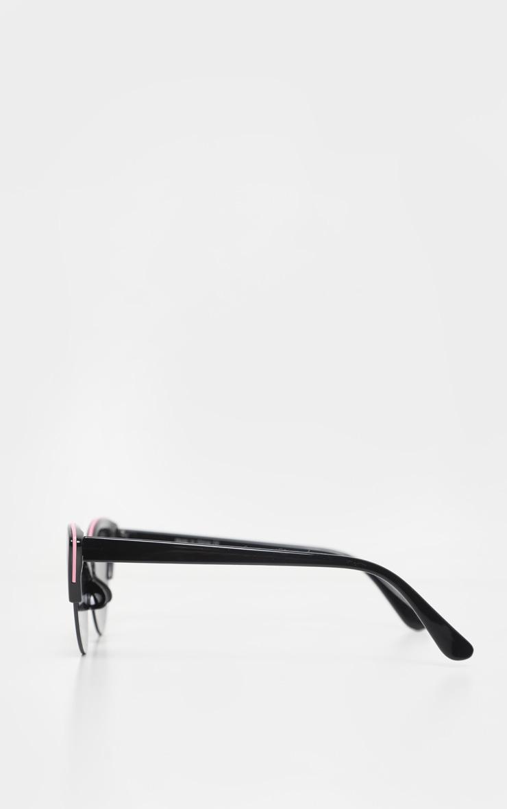 Black Half Frame Pink Brow Bar Extreme Cateye Sunglasses 4