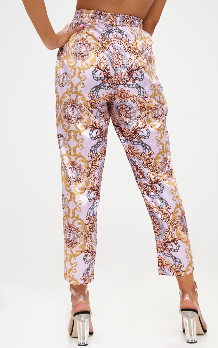 Petite Pink Printed Casual Trousers 4