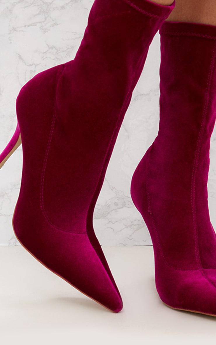 Fuchsia Velvet Pointy Sock Boots 5