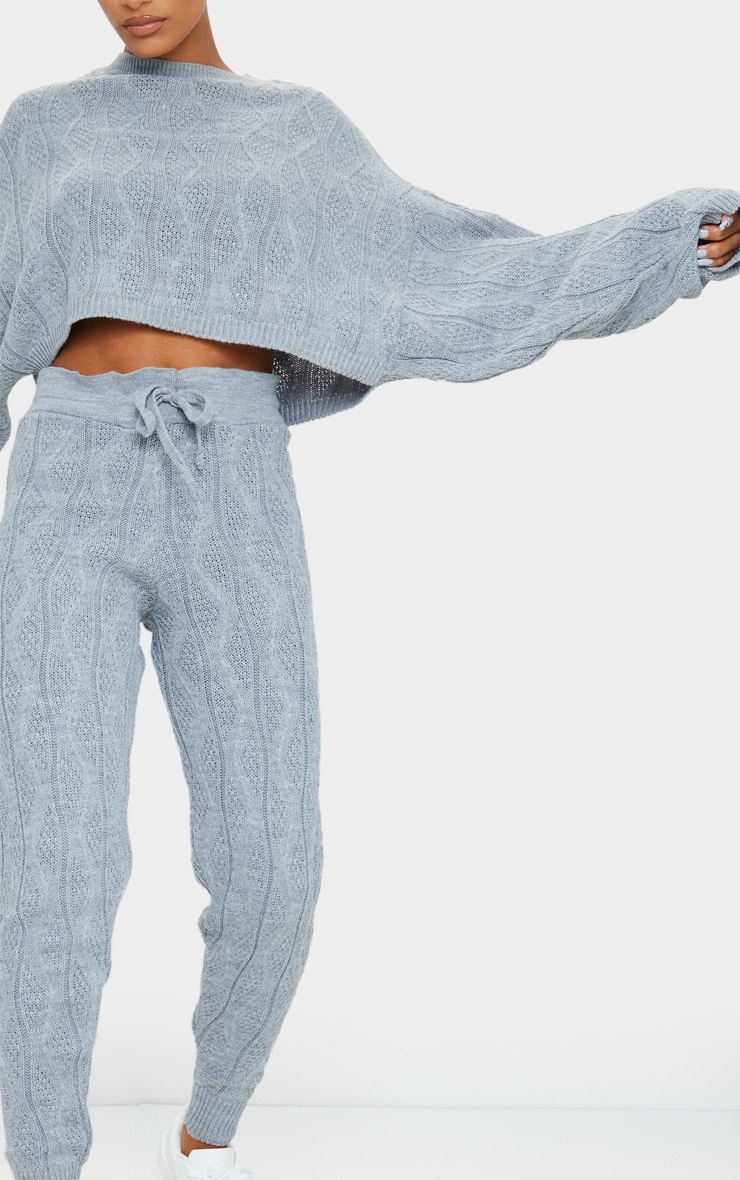 Grey Cable Batwing Knitted Lounge Set 4