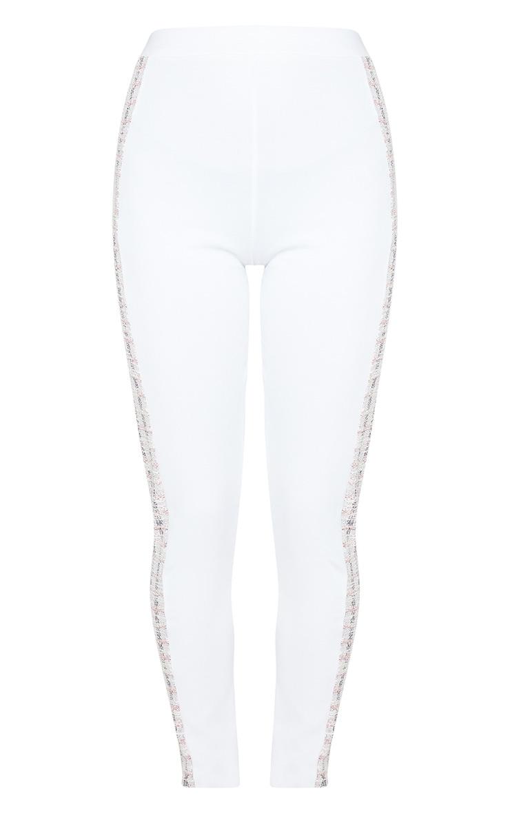 White Boucle Side Panel Legging 3