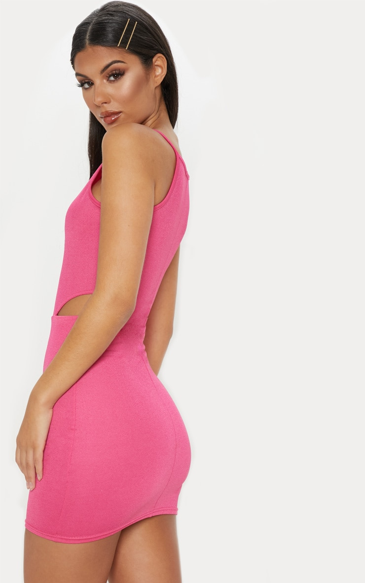 Hot Pink High Neck Cut Out Bodycon Dress 2