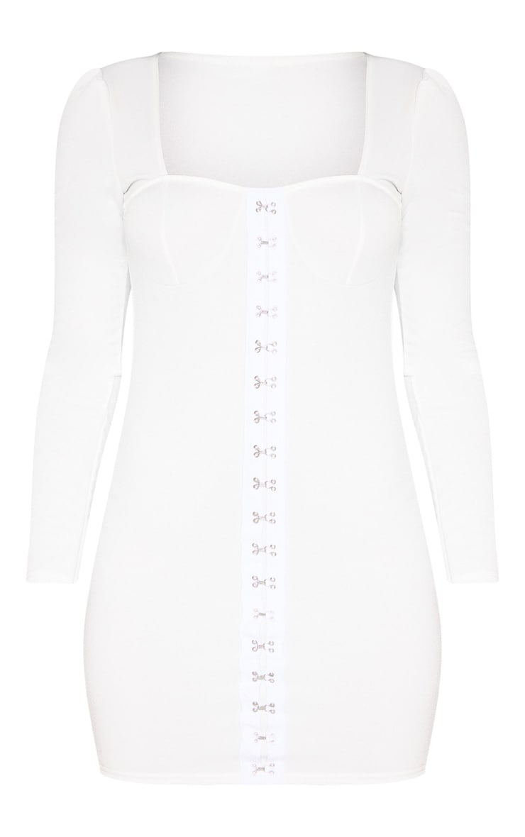 White Long Sleeve Cup Detail Hook and Eye Bodycon Dress 1