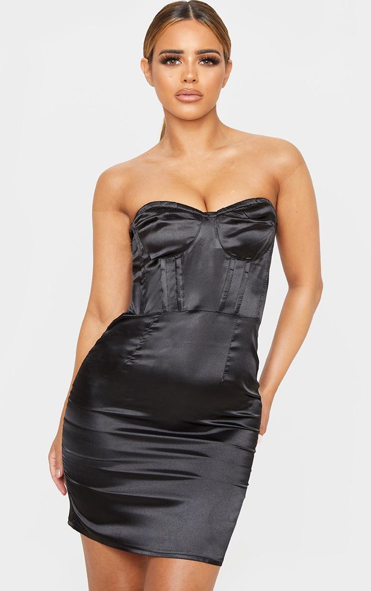Petite Black Corset Satin Mini Dress  1