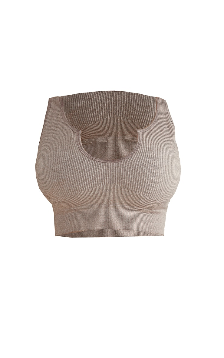 Taupe Marl Ribbed Seamless Cut Out Neck Cropped Sports Top 5