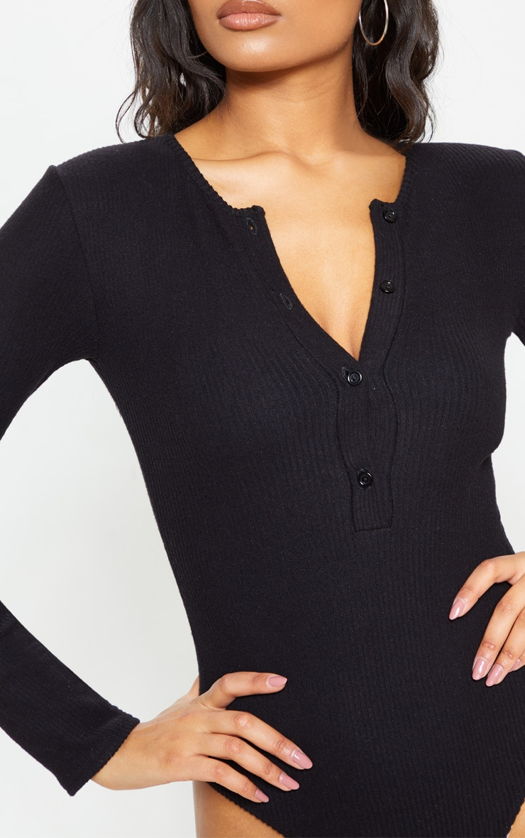 Black Brushed Rib Button Long Sleeve Bodysuit 4