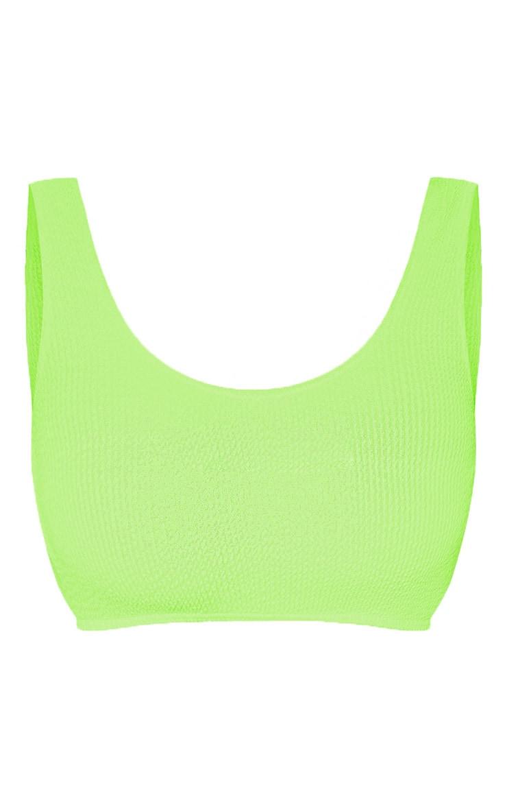 Neon Lime Fuller Bust Crinkle Deep Scoop Bikini Top 6