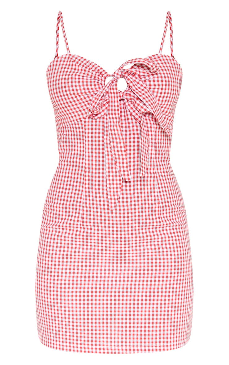 Red Gingham Tie Front Woven Shift Dress 3