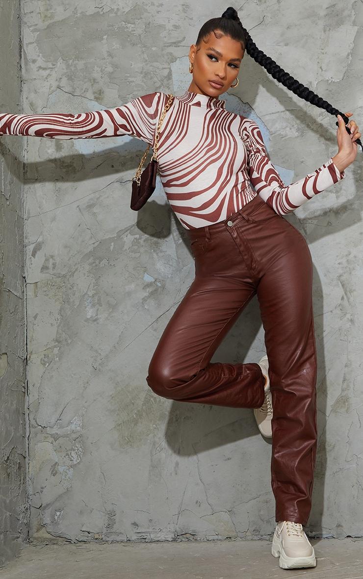 Brown Zebra Swirl Printed High Neck Long Sleeve Bodysuit 3
