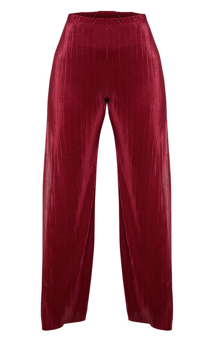 Petite - Pantalon large bordeaux plissé et fendu 3