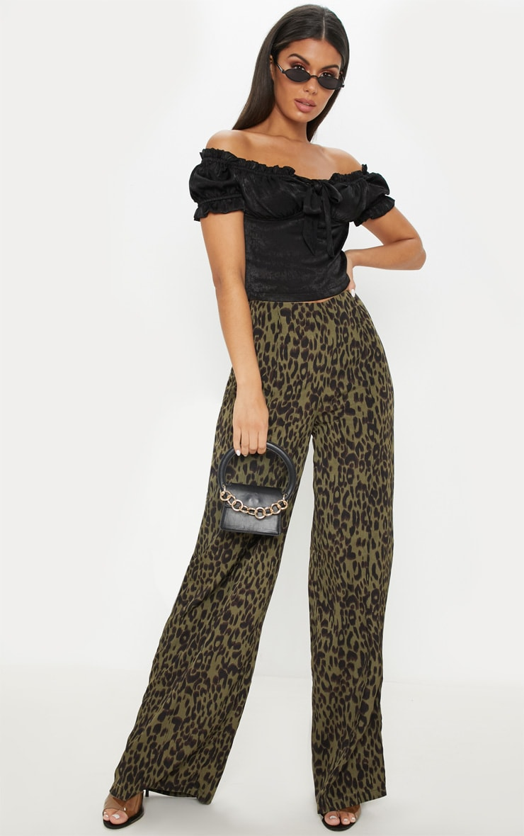 Khaki Printed Wide Leg Trouser