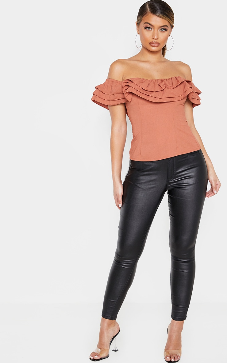 Terracotta Ruffle Edge Bardot Top 4