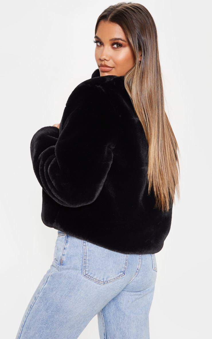 Black Collar Faux Fur Jacket 2