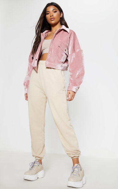 Pink Cropped Cord Oversized Trucker Jacket