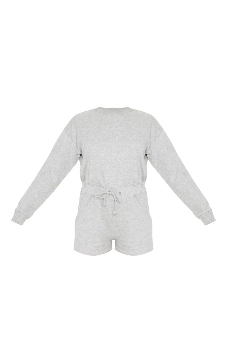 Grey Sweat Long Sleeve Contrast Stitch Playsuit 3