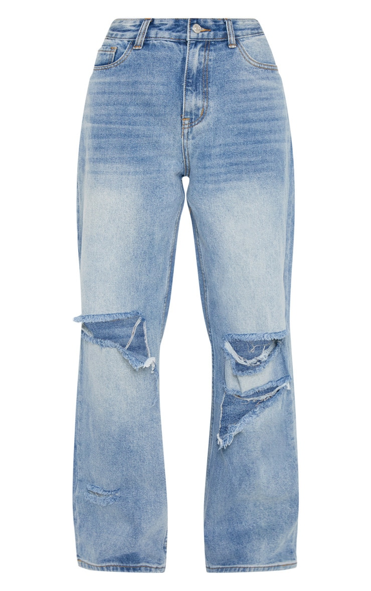Mid Wash Baggy Low Rise Distressed Boyfriend Jeans  3