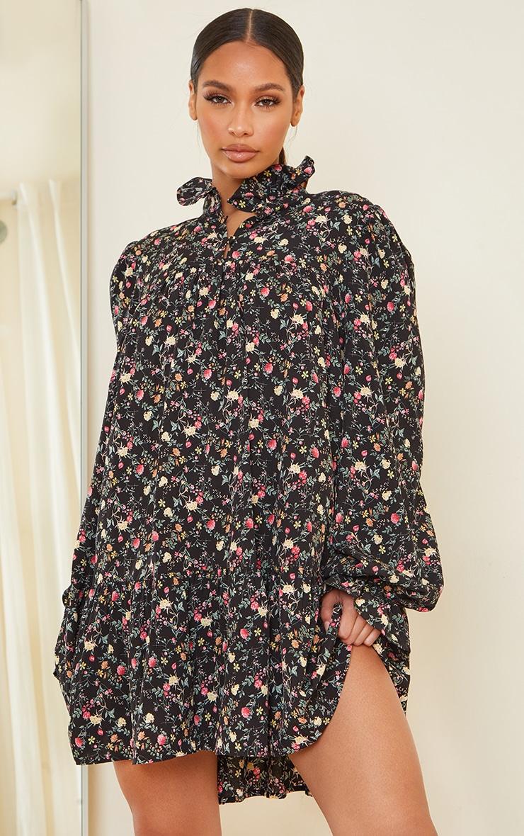 Black Floral Print High Neck Frill Detail Smock Dress 1