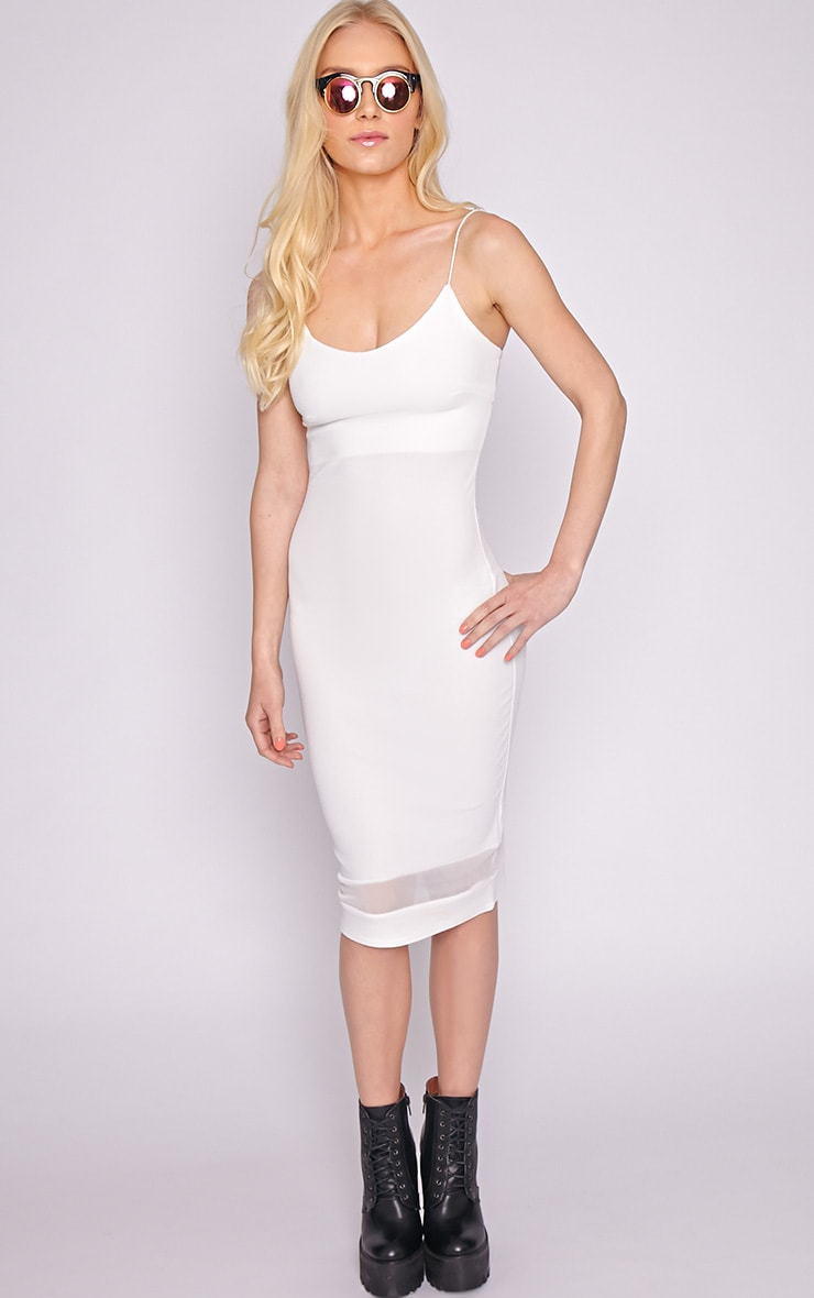 Ryleigh White Mesh Insert Midi Dress 1
