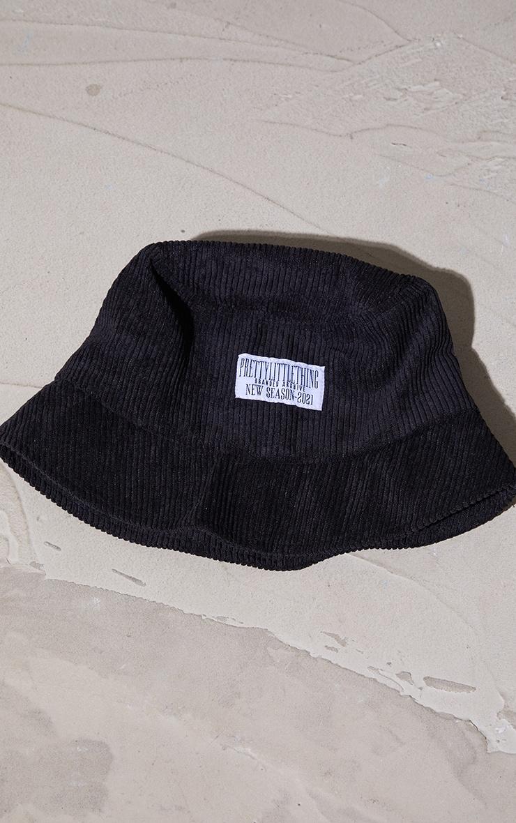 PRETTYLITTLETHING Cord Black Bucket Hat 2