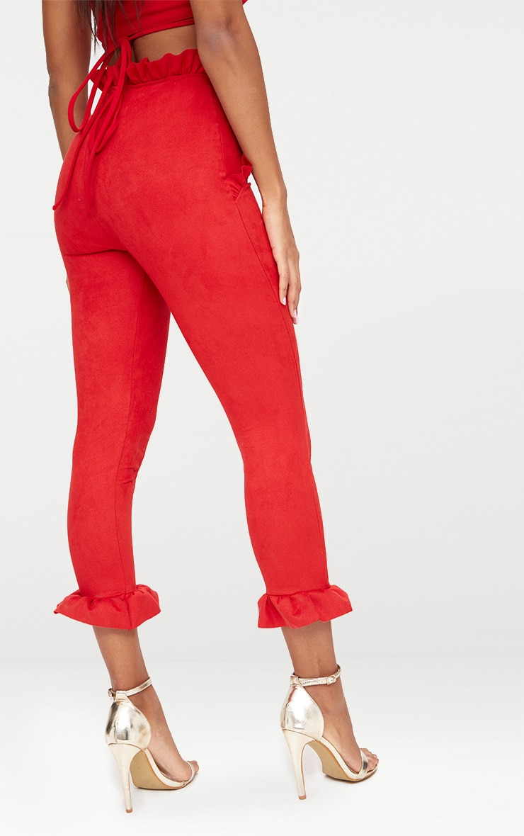 Red Faux Suede Frill Trim Trousers 4