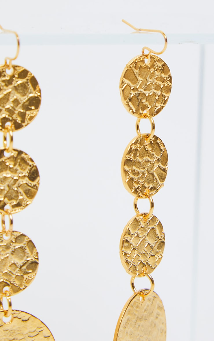 Gold Textured Coin Drop Earrings   3
