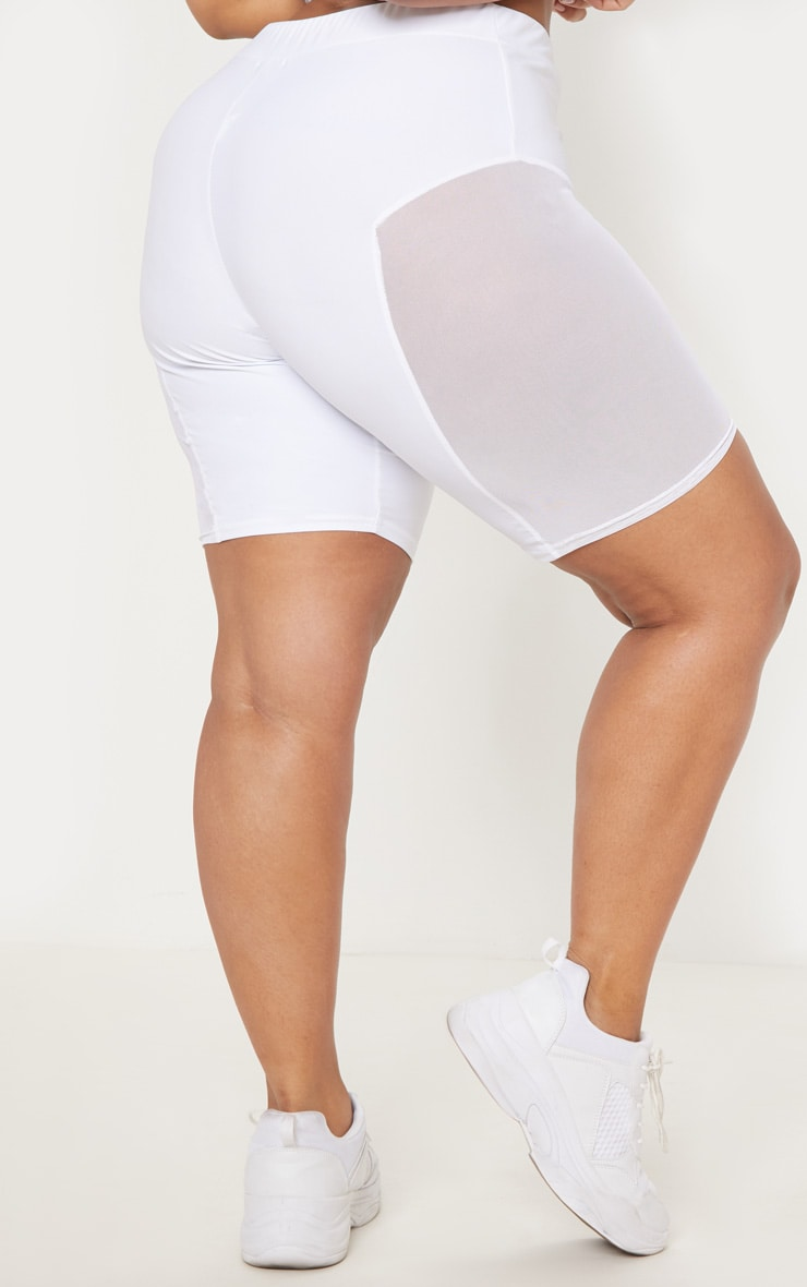 Plus White Mesh Side Panel Cycling Shorts 4