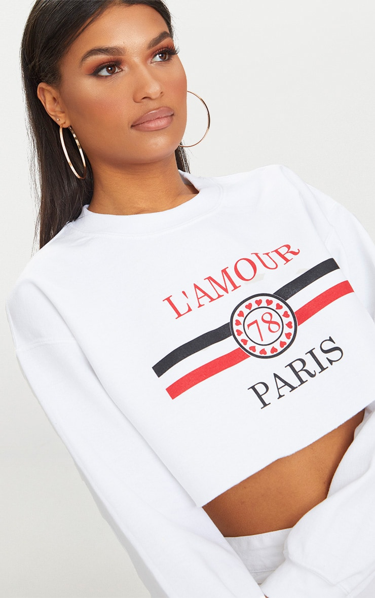 White Lamour Cropped Sweater  4
