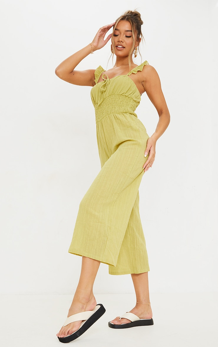 Lime Shirred Waist Frill Strap Culotte Jumpsuit 1