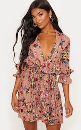 Dark Nude Floral Frill Detail Pleated Skater Dress 4