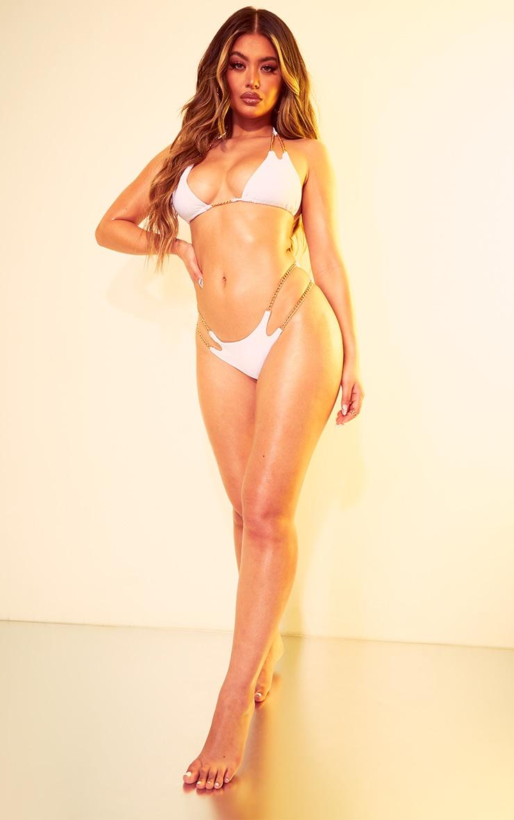 White Chain Strap Bikini Bottom