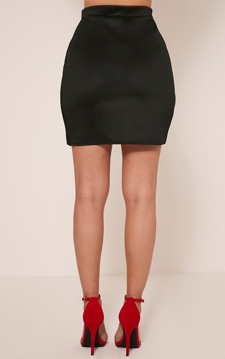 Marcella Black Asymmetric Wrap Mini Skirt 5