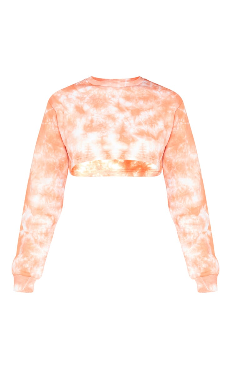 Tall Orange Tie Dye Extreme Cropped Sweater 5