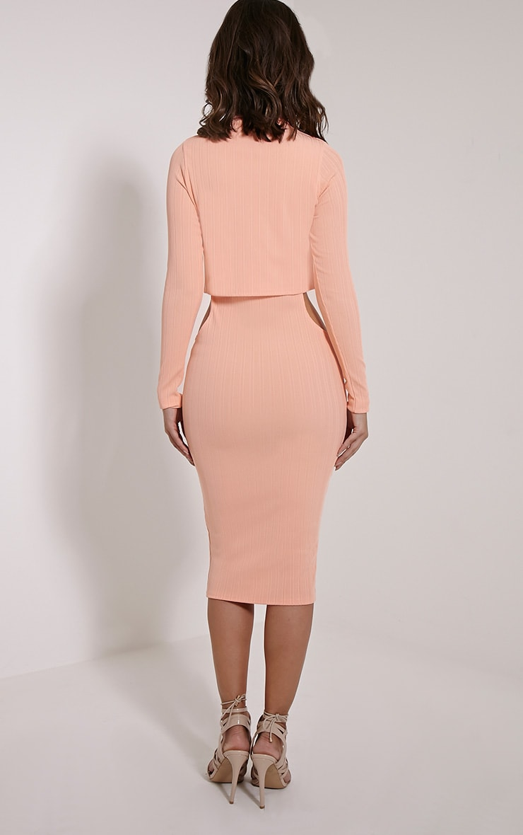 Alma Peach Ribbed Cut Out Long Sleeve Midi Dress 2