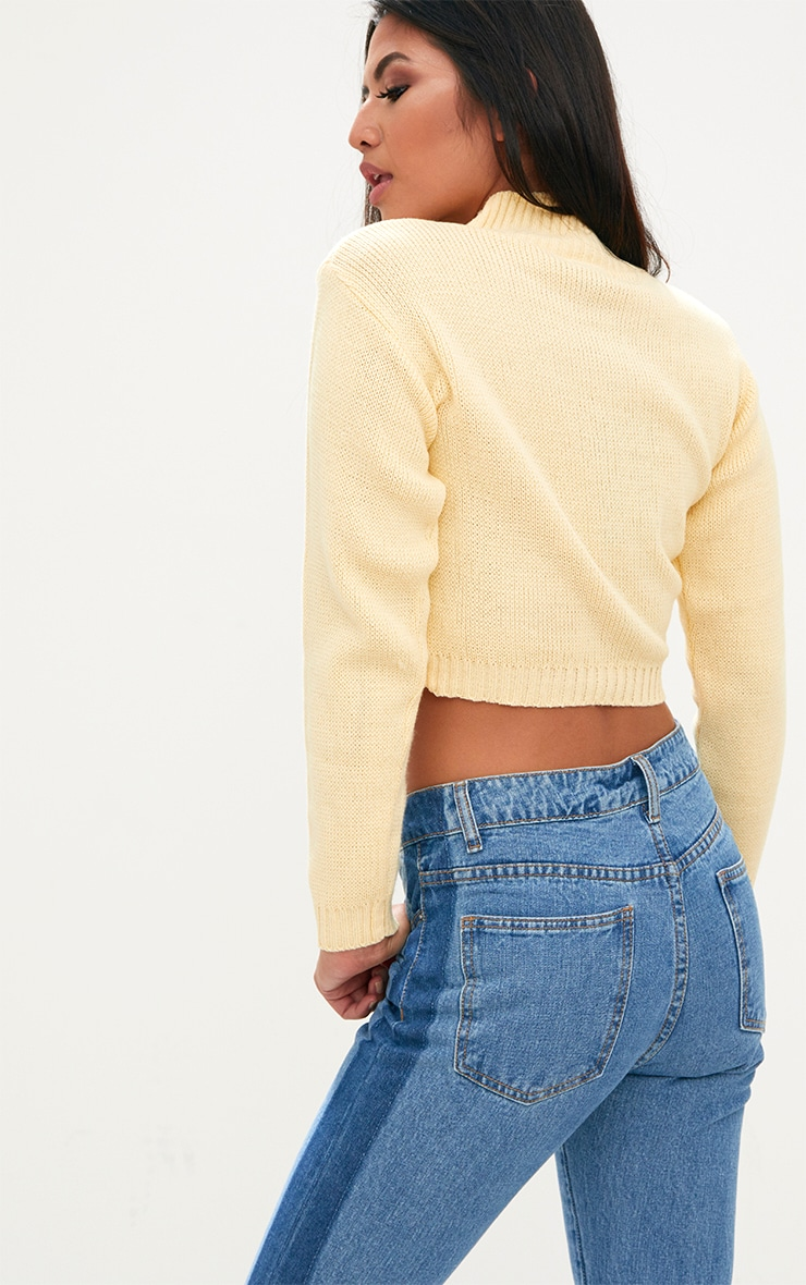 Yellow High Neck Soft Knit Cropped Jumper 2