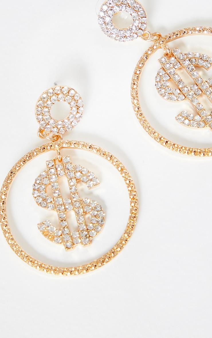 Gold Crystal Dollar Sign Medium Hoop Earrings 2