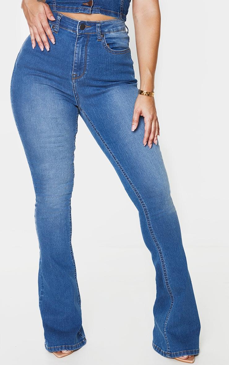 Shape Mid Blue Wash High Waist Skinny Flared Jeans 2