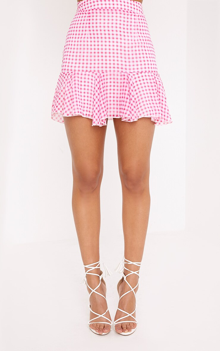 Zahara Pink Chiffon Floaty Hem Gingham Mini Skirt  2