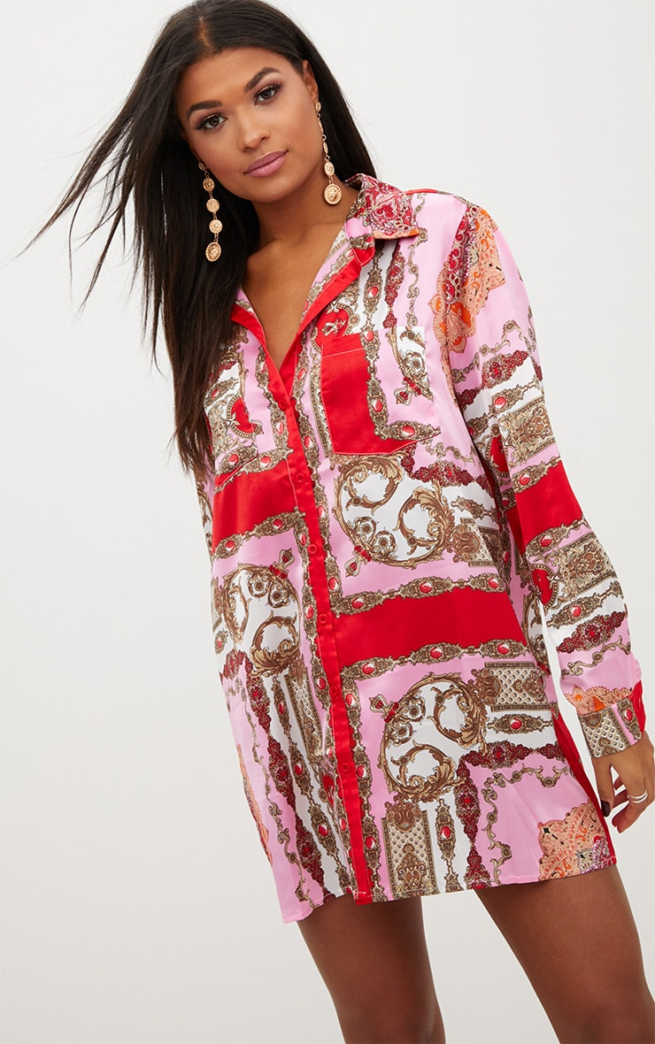 Pink Scarf Print Shirt Dress 1