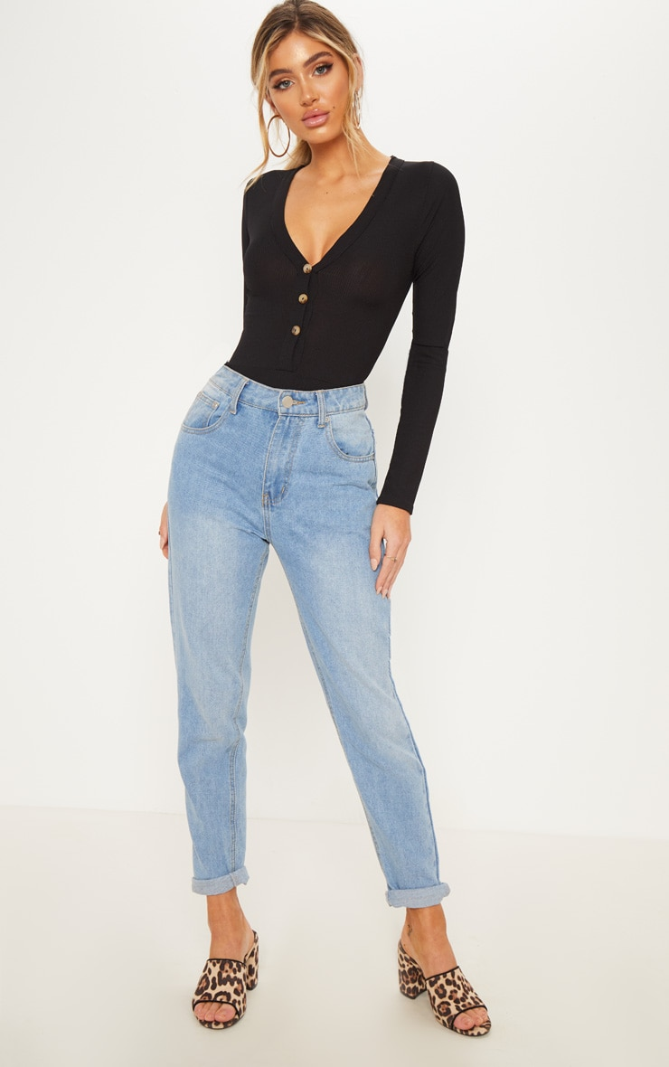 Black Long Sleeve Button Detail Bodysuit 5