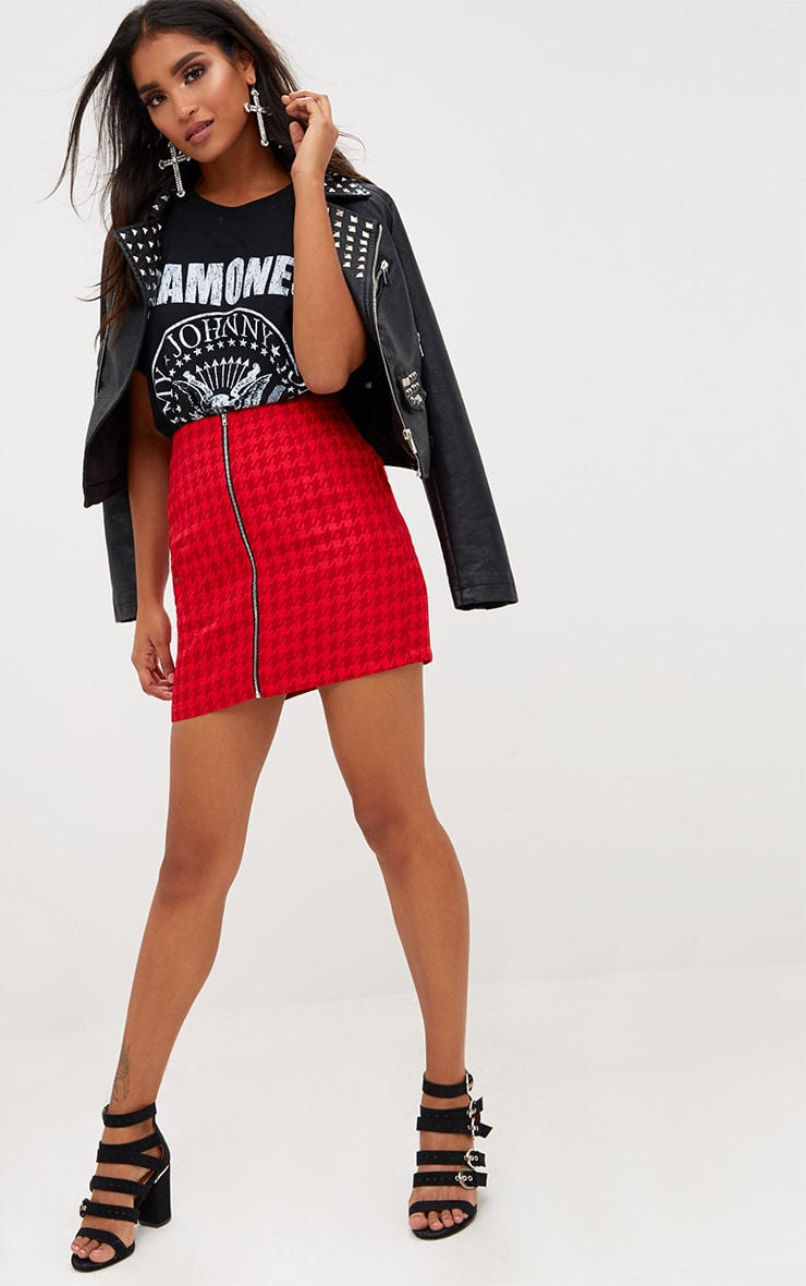 Red Jacquard Dogtooth Front Zip Mini Skirt 4