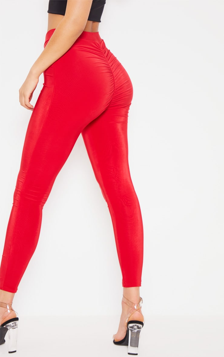 Deep Red Ruched Bum Detail Legging 5