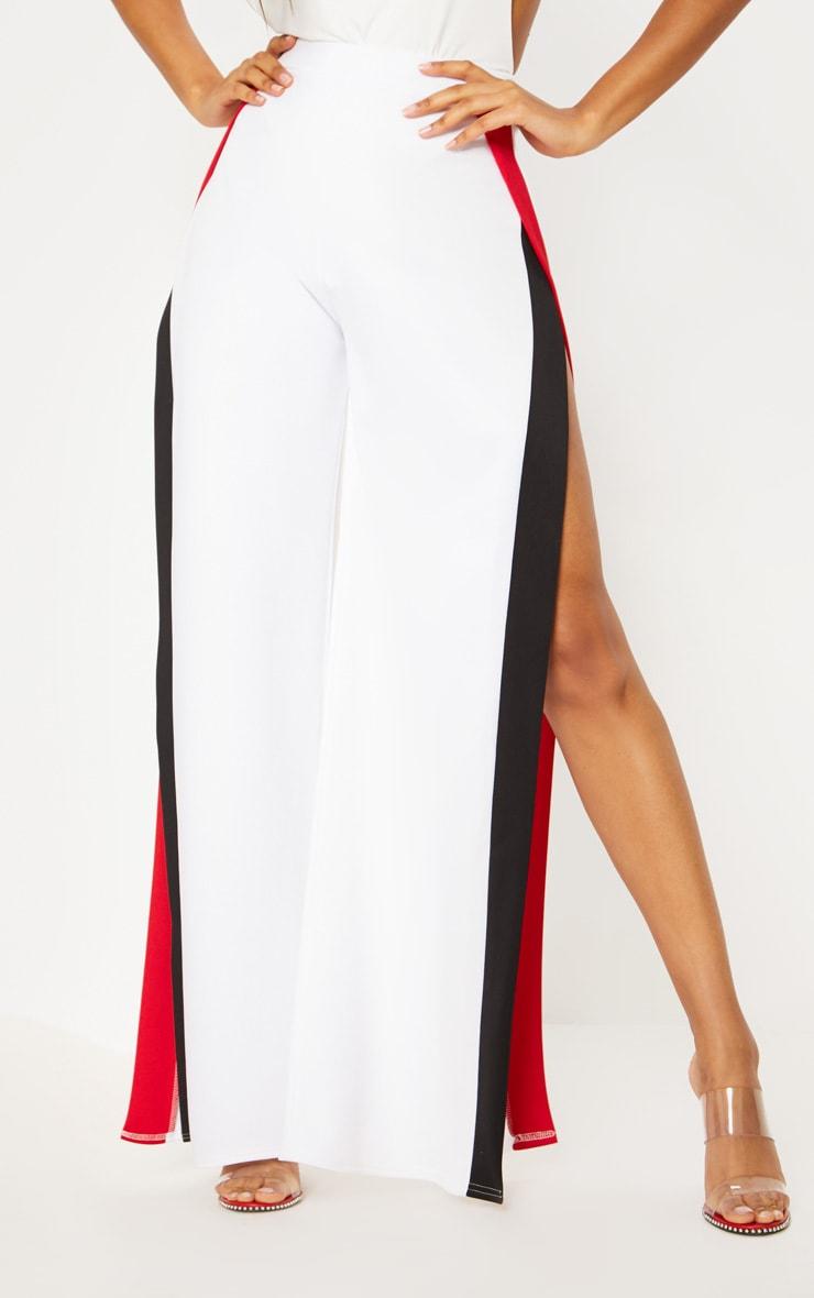 White Contrast Panel Extreme Split Wide Leg Trouser 2